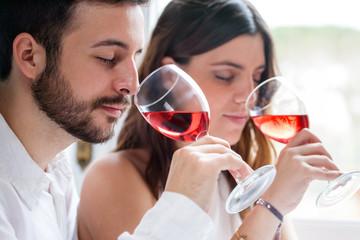Couple at wine tasting.