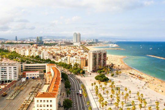 Aerial view of Barcelona Beach
