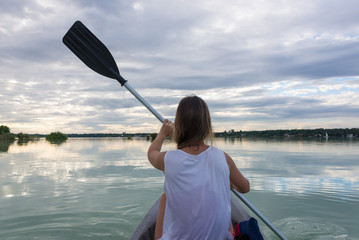 Young Girl Kayaking at Bacalar, near Cancun, Traveling Mexico. B
