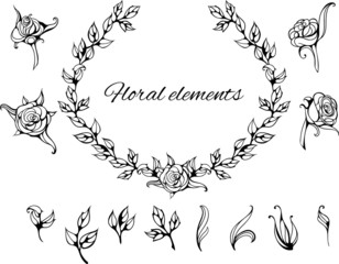 set of isolated black and white floral elements