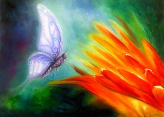 Butterfly flying towards an orange flower, beautiful detailed