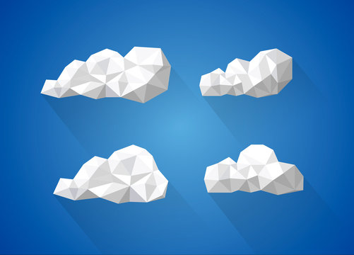 Low poly clouds collection / set with long shadow.