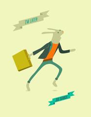 Running funny cartoon rabbit. Vector illustration.