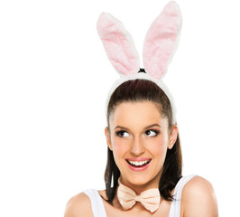 Cute woman with bunny ears isolated on white