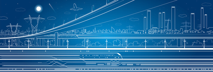 Car overpass, industrial panorama, infrastructure, train move