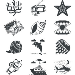 Black monochrome marine icons