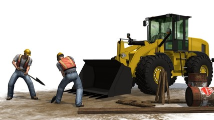 Bulldozer and construction worker isolated on white background