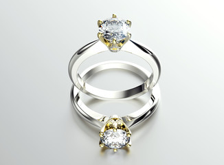 Golden Engagement Ring with Diamond