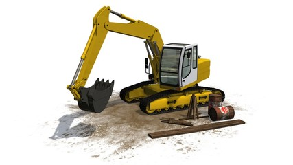 Excavators  - isolated on white background