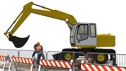 Excavators and construction worker with shovel behind roadblock