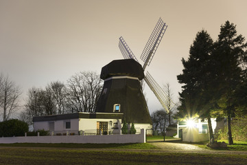 Windmill in Hannover, Germany at evening