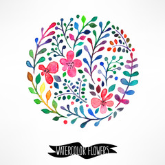 circle of watercolor flowers