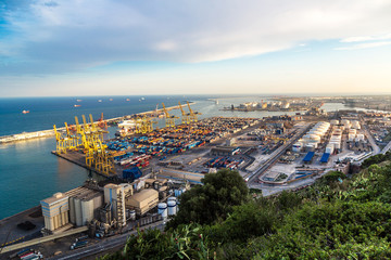 Panoramic view of the port in Barcelona