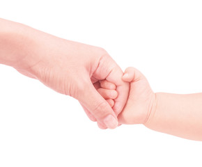 baby hand hold mother hand in softly and isolated on white backg