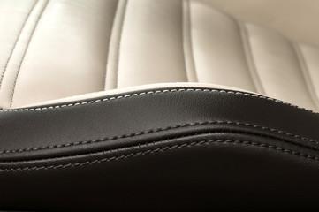 Detail of leather car seat. Horizontal photo.