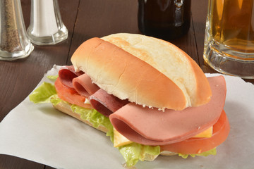 Hogie sandwich and beer