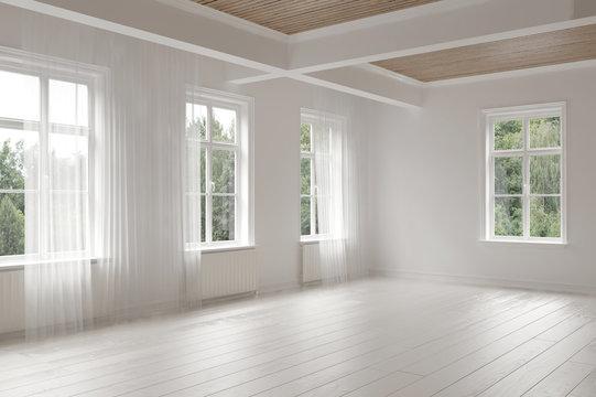 Large empty spacious bright white loft room