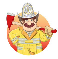 Fireman in uniform with ax. Eps10 vector illustration.