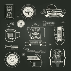Vintage retro Restaurant Cafe logo Design