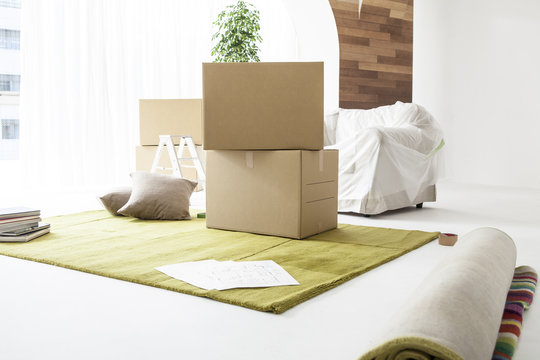 Cardboard boxes, packing, moving, rug