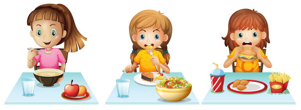 Cartoon Kids Eating Lunch Photos Royalty Free Images Graphics Vectors Videos Adobe Stock