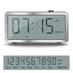 Old style liquid-crystal alarm clock with black numbers