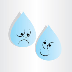 drops of water sad worry and happy