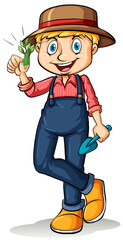 Gardener showing his thumb