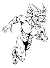 Dragon sports mascot sprinting