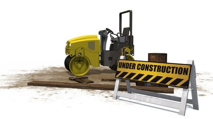 under construction sign and road building machine roller