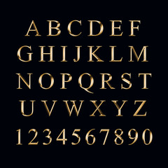 Gold alphabet with numbers