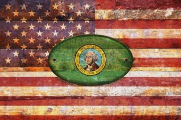 Wooden flag of Washington.