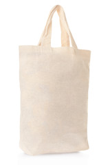 Fabric canvas bag on white, clipping path