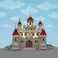 Cartoon fairy tale castle, In blue sky background