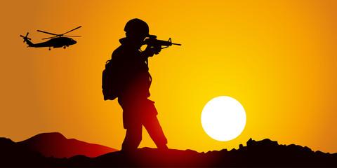 Silhouette Guerre soleil