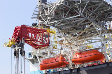 Oil rig rescue boats