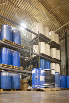 55 Gallon Drums in Chemical Plant Warehouse