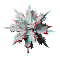 Anaglyph, 3D fractal, isolated on white for red/cyan 3D glasses.