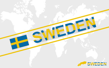 Sweden map flag and text illustration