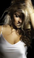 Closeup Blonde Latina Hand Hair White Shirt