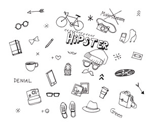 Hipster illustration hand drawn elements