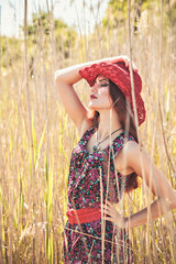 Girl in a field, summer, country style