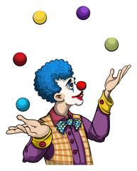 Cute clown character juggling