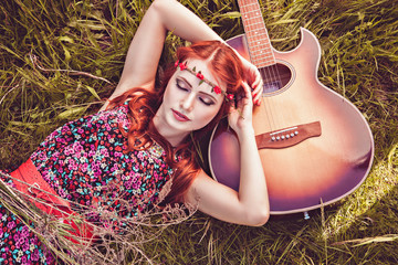 Romantic girl and her guitar, summer, hippie style