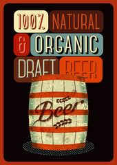 Beer poster with a wooden barrel of beer with label.