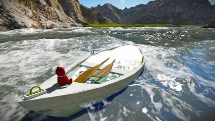 Sinking boat with teddy bear