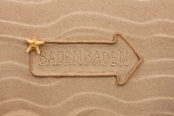 Arrow made of rope and starfish with the word Baden Baden on the