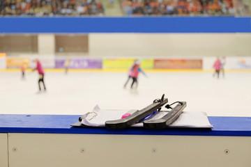 Closeup black covers for skates