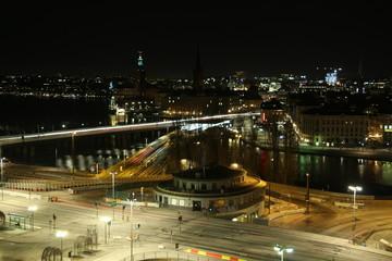 vista superior de estocolmo de noche
