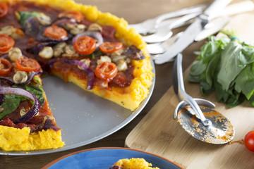 Vegan Polenta Pizza with Slice Missing
